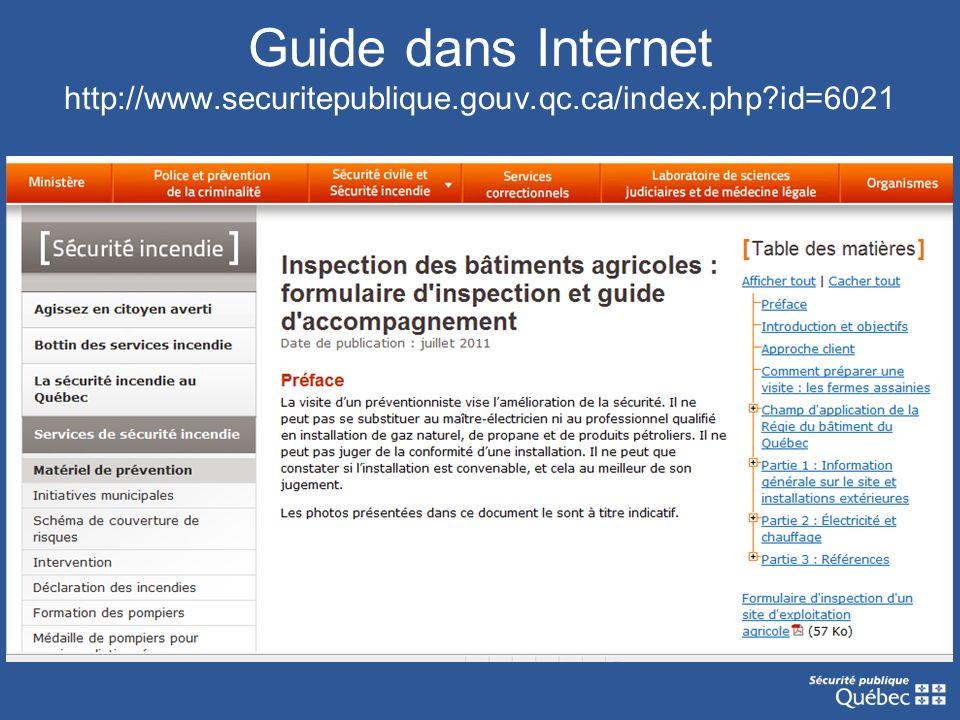 Guide dans Internet http://www.securitepublique.gouv.qc.ca/index.php?id=6021