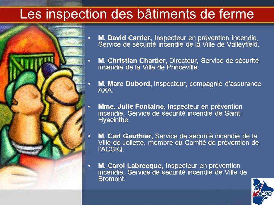 Les inspection des bâtiments de ferme M. David Carrier, Inspecteur en prévention incendie, Service de sécurité incendie de la Ville de Valleyfield. M.
