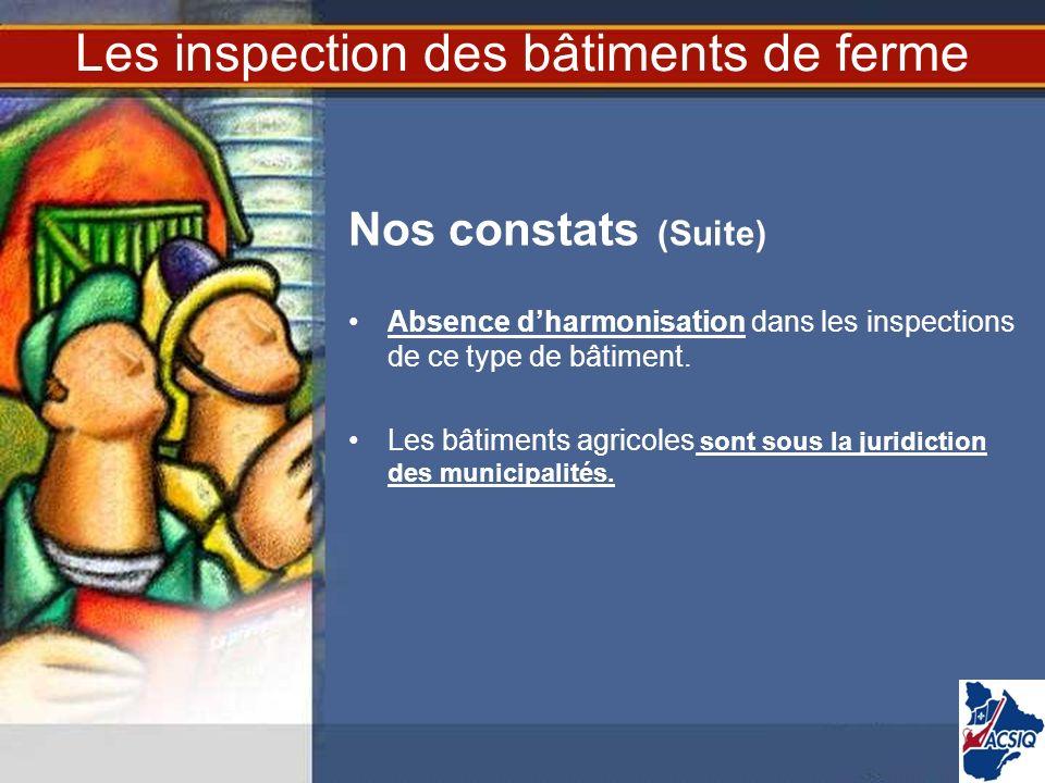 Les inspection des bâtiments de ferme Nos constats (Suite) Absence dharmonisation dans les inspections de ce type de bâtiment. Les bâtiments agricoles