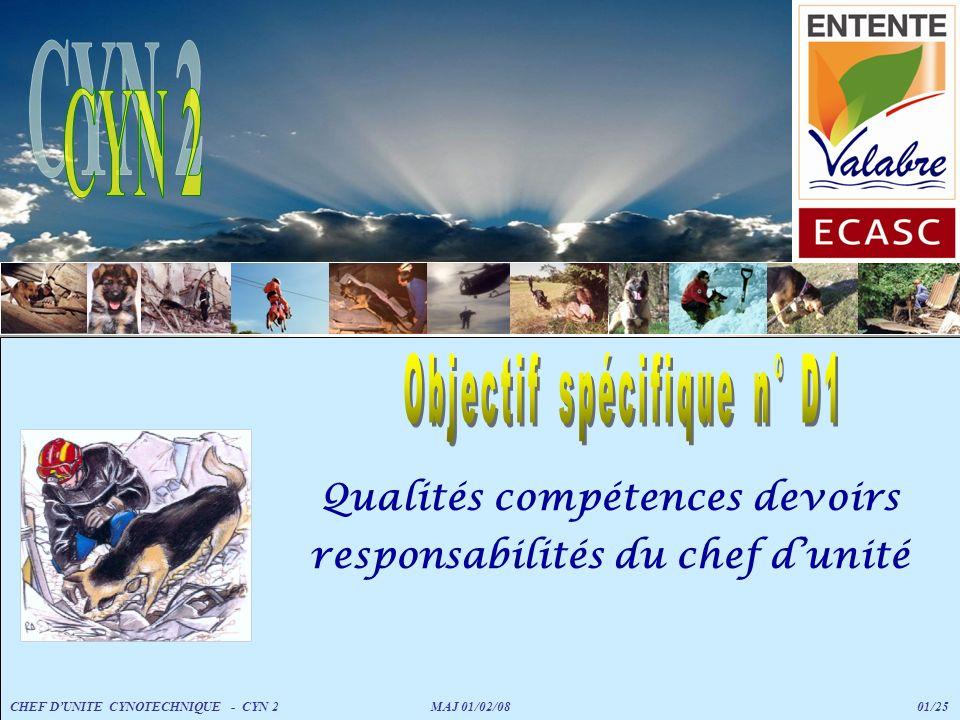 Qualités compétences devoirs responsabilités du chef dunité CHEF DUNITE CYNOTECHNIQUE - CYN 2 MAJ 01/02/08 01/25