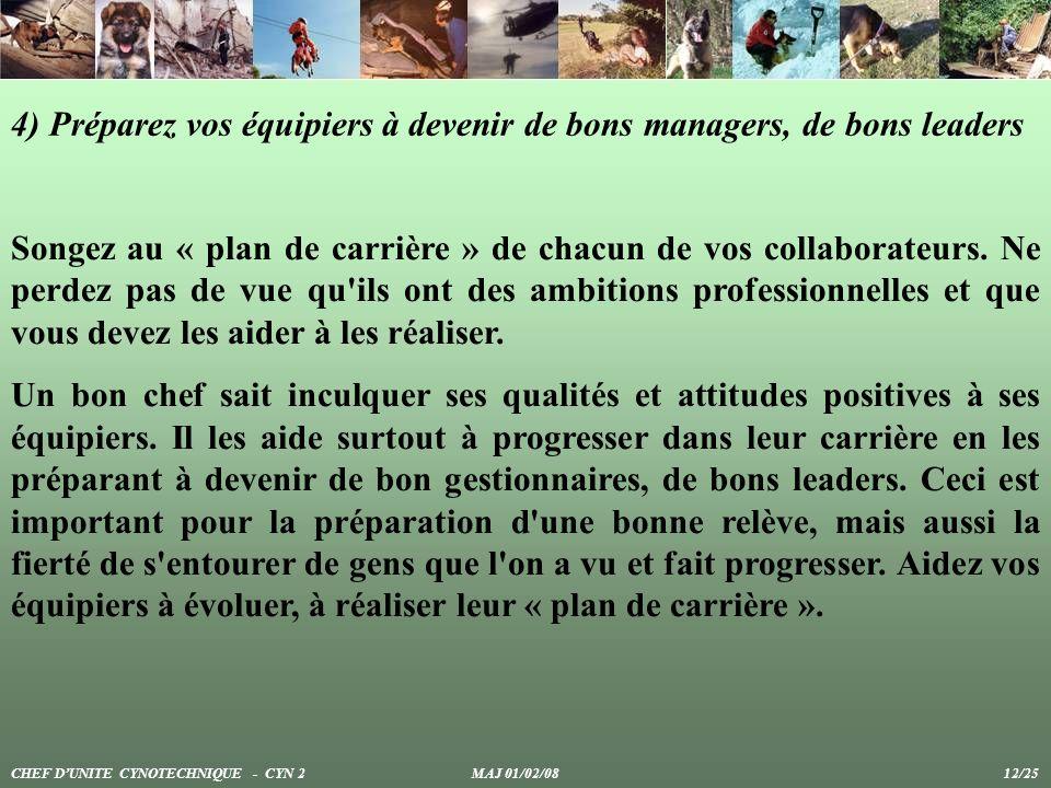 4) Préparez vos équipiers à devenir de bons managers, de bons leaders Songez au « plan de carrière » de chacun de vos collaborateurs. Ne perdez pas de