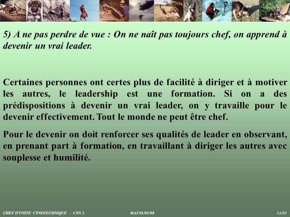 5) A ne pas perdre de vue : On ne naît pas toujours chef, on apprend à devenir un vrai leader. Certaines personnes ont certes plus de facilité à dirig