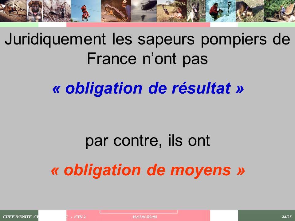 CHEF DUNITE CYNOTECHNIQUE - CYN 2 MAJ 01/02/08 24/25 Juridiquement les sapeurs pompiers de France nont pas « obligation de résultat » par contre, ils