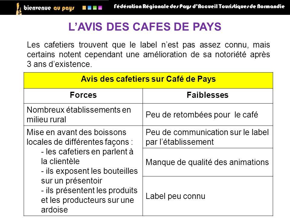 Fédération Régionale des Pays dAccueil Touristiques de Normandie LAVIS DES CAFES DE PAYS Les cafetiers trouvent que le label nest pas assez connu, mais certains notent cependant une amélioration de sa notoriété après 3 ans dexistence.