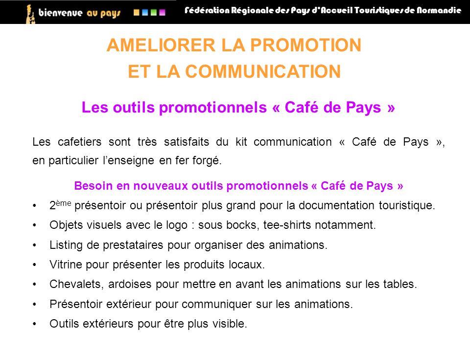 Fédération Régionale des Pays dAccueil Touristiques de Normandie AMELIORER LA PROMOTION ET LA COMMUNICATION Les outils promotionnels « Café de Pays » Les cafetiers sont très satisfaits du kit communication « Café de Pays », en particulier lenseigne en fer forgé.