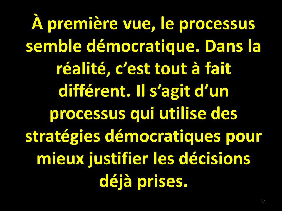 À première vue, le processus semble démocratique. Dans la réalité, cest tout à fait différent.