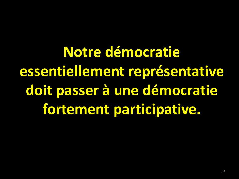 Notre démocratie essentiellement représentative doit passer à une démocratie fortement participative.