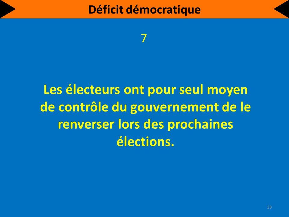Les électeurs ont pour seul moyen de contrôle du gouvernement de le renverser lors des prochaines élections.