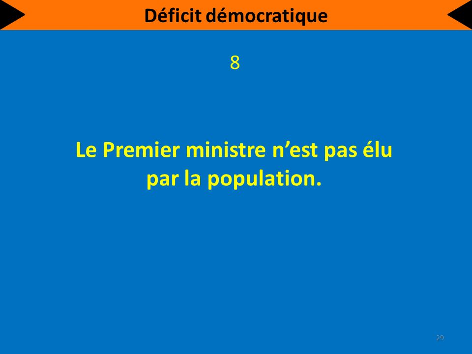 La plupart des députés nont pas été choisis par une majorité de citoyens. 9 30 Déficit démocratique