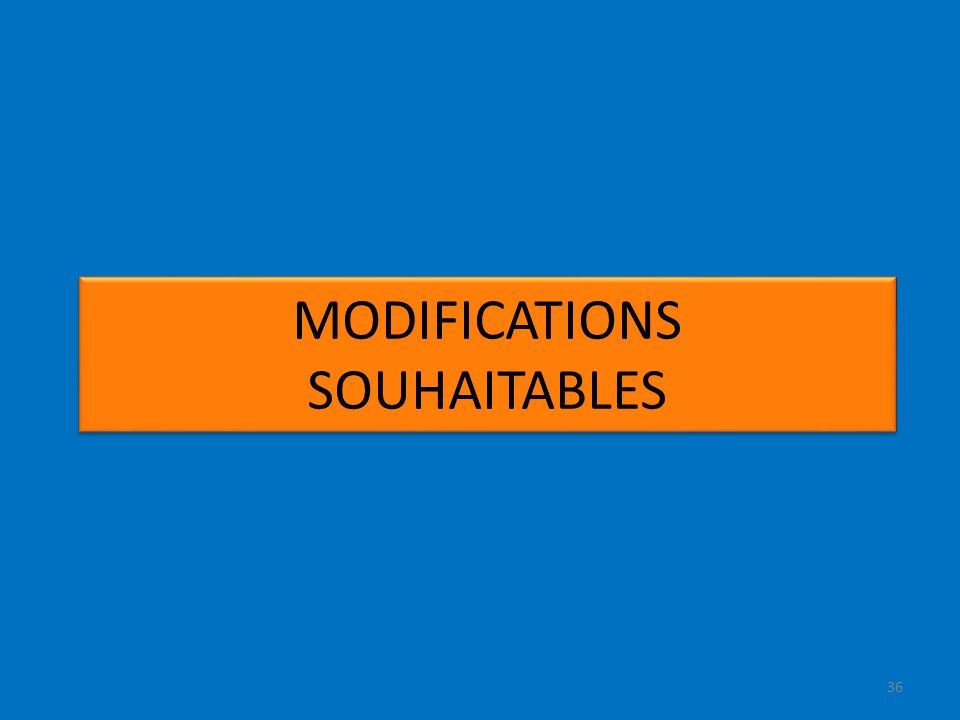36 MODIFICATIONS SOUHAITABLES