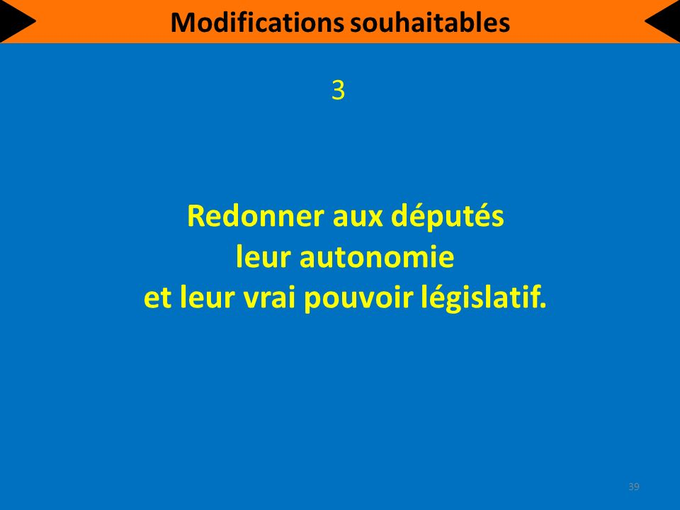 Redonner aux députés leur autonomie et leur vrai pouvoir législatif.