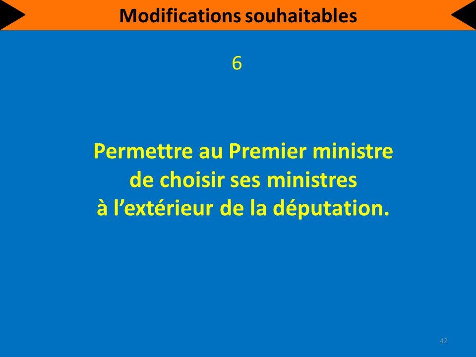 Permettre au Premier ministre de choisir ses ministres à lextérieur de la députation.