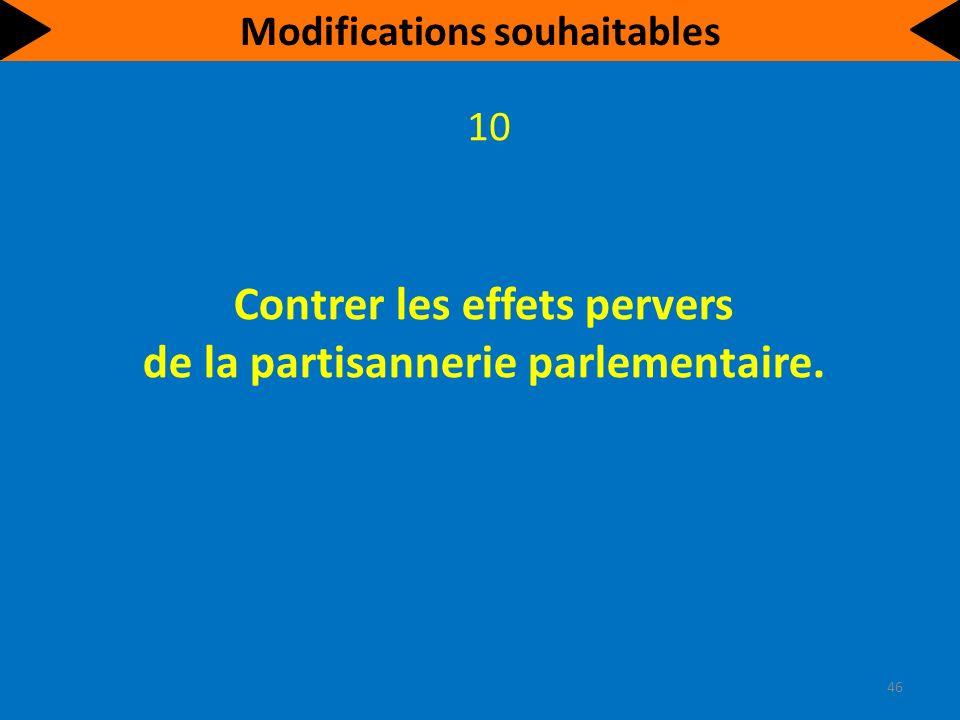 Contrer les effets pervers de la partisannerie parlementaire. 10 46 Modifications souhaitables
