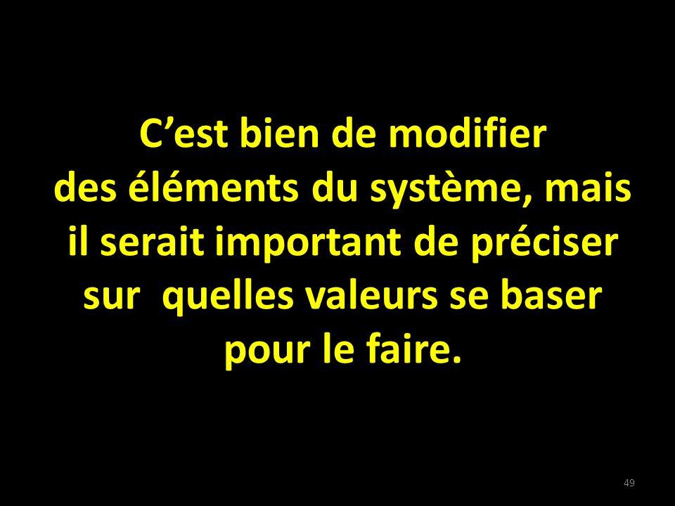 Cest bien de modifier des éléments du système, mais il serait important de préciser sur quelles valeurs se baser pour le faire.