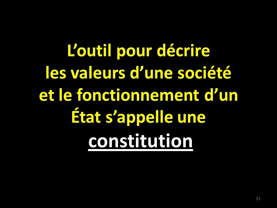 Loutil pour décrire les valeurs dune société et le fonctionnement dun État sappelle une constitution 51