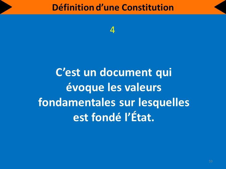 Cest un document qui évoque les valeurs fondamentales sur lesquelles est fondé lÉtat.