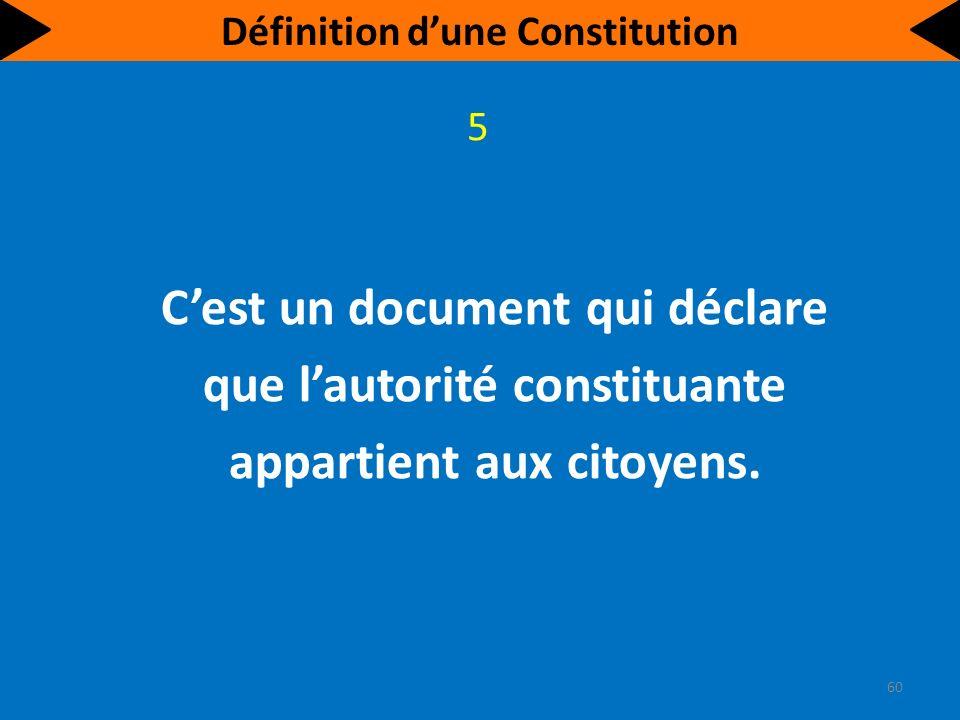 Cest un document qui déclare que lautorité constituante appartient aux citoyens.