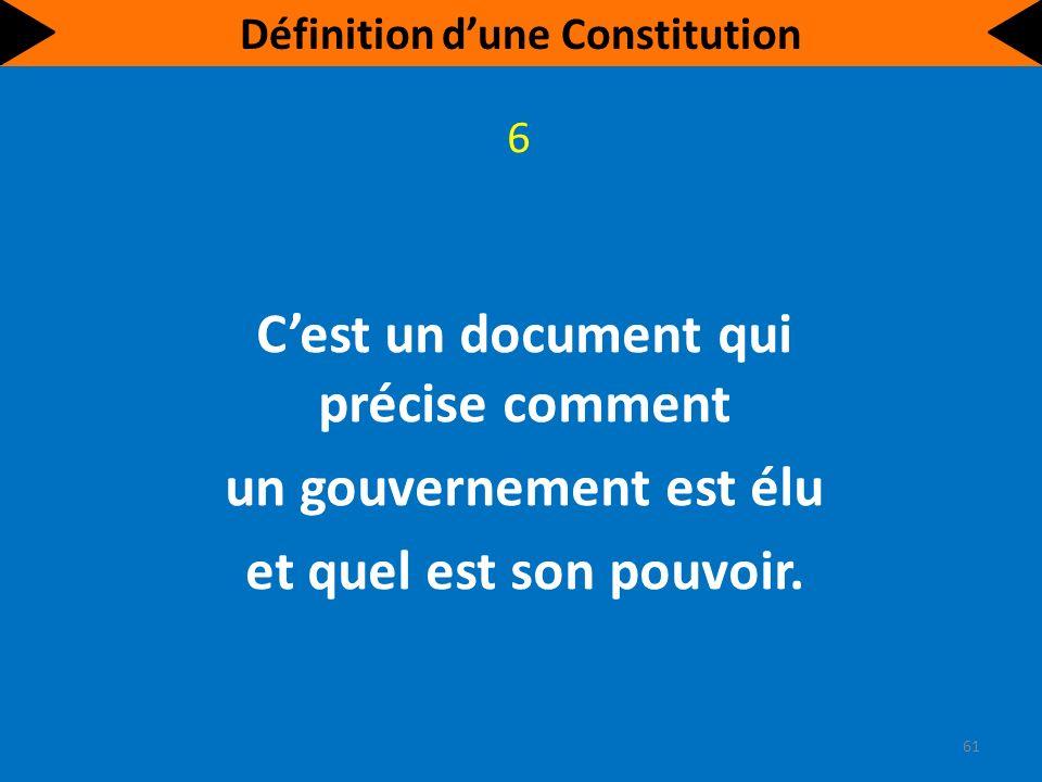 Cest un document qui sert à définir le type de gouvernement dont se dote la société.