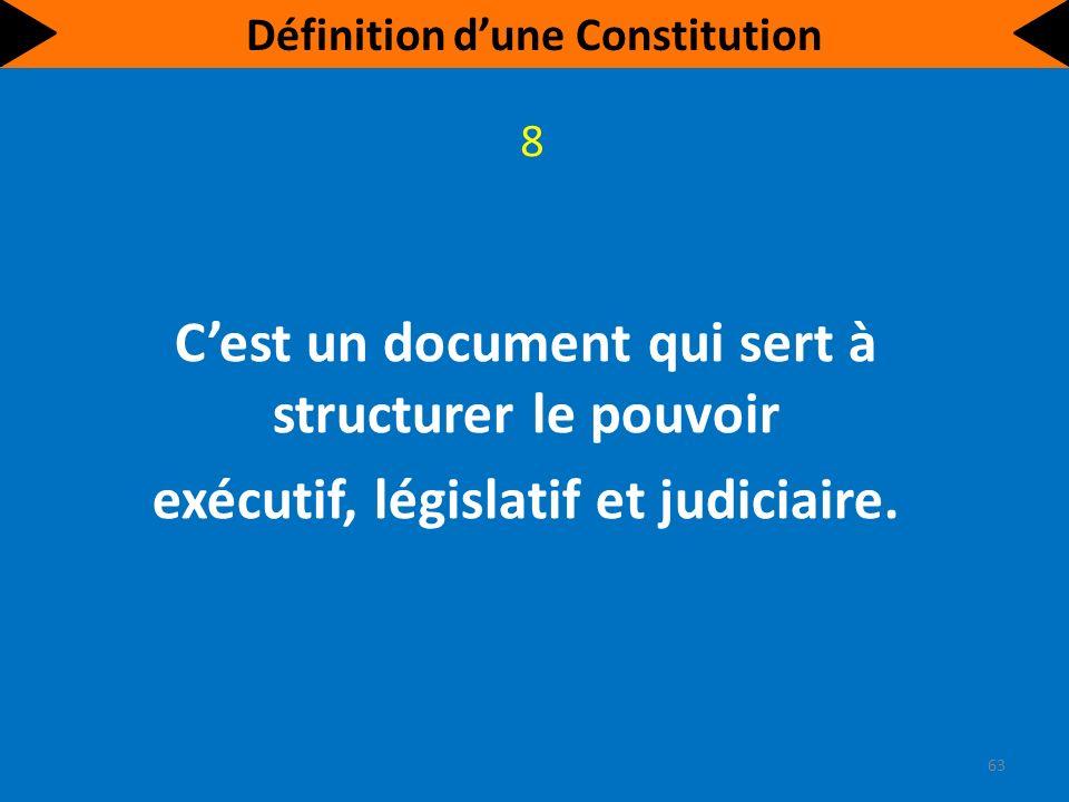 Cest un document qui définit la structure de lÉtat, établit les règles de fonctionnement des institutions politiques et régit leurs relations avec les citoyens.