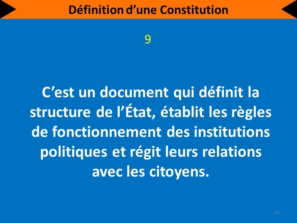 Cest un document qui précise les aspects à protéger. 10 65 Définition dune Constitution
