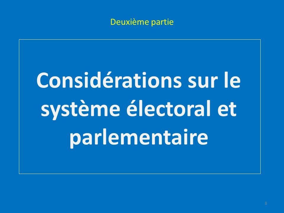 Deuxième partie Considérations sur le système électoral et parlementaire 8