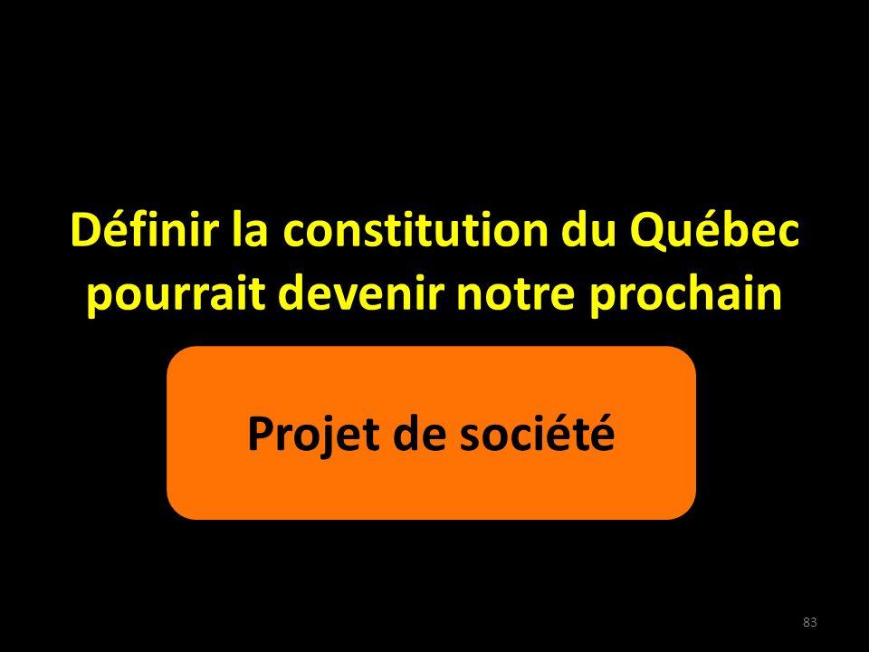 Définir la constitution du Québec pourrait devenir notre prochain Projet de société 83