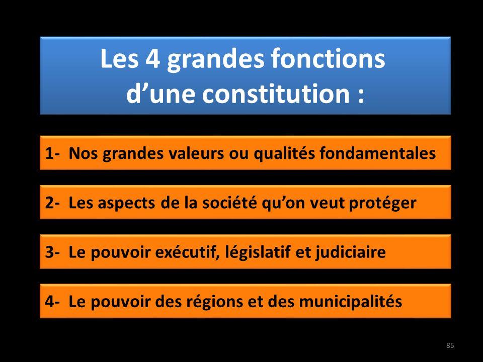 Les 4 grandes fonctions dune constitution : 1- Nos grandes valeurs ou qualités fondamentales 2- Les aspects de la société quon veut protéger 3- Le pouvoir exécutif, législatif et judiciaire 4- Le pouvoir des régions et des municipalités 85