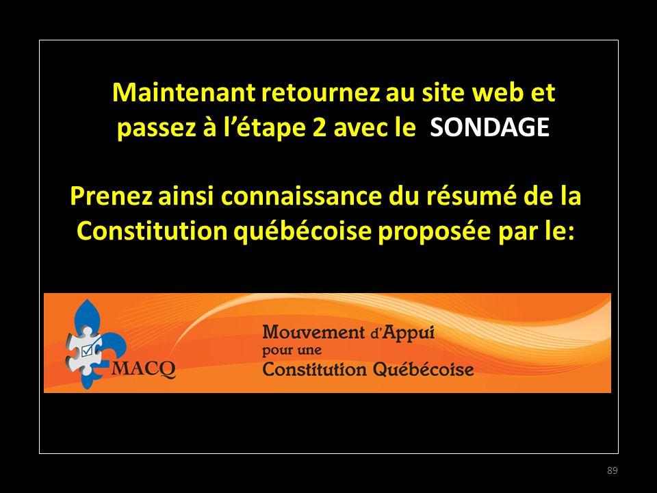 89 Maintenant retournez au site web et passez à létape 2 avec le SONDAGE Prenez ainsi connaissance du résumé de la Constitution québécoise proposée par le: