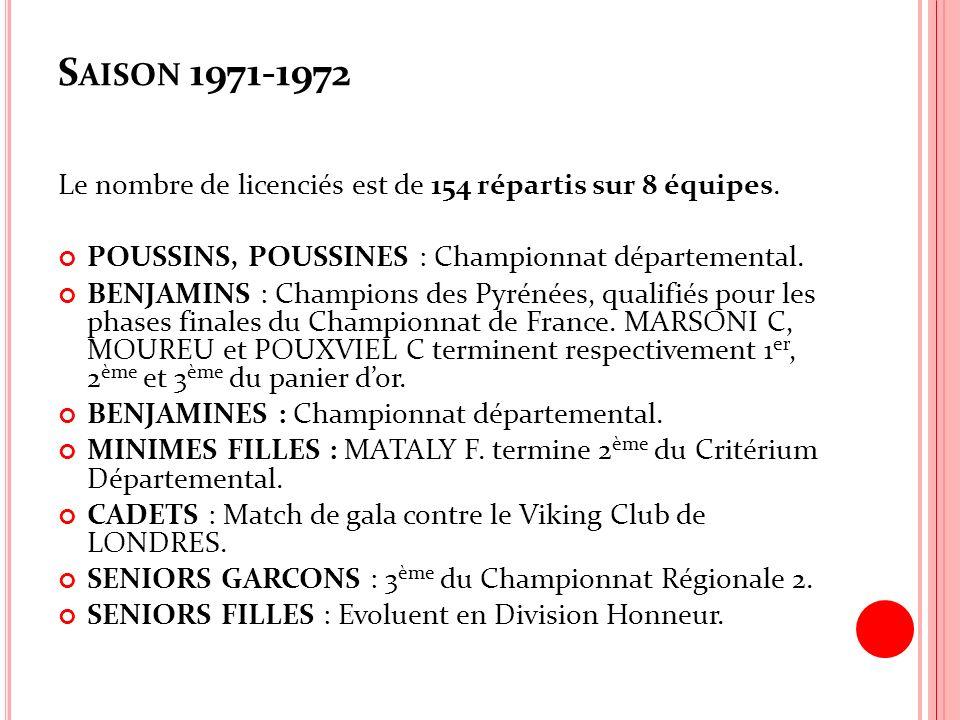 S AISON 1971-1972 Le nombre de licenciés est de 154 répartis sur 8 équipes. POUSSINS, POUSSINES : Championnat départemental. BENJAMINS : Champions des