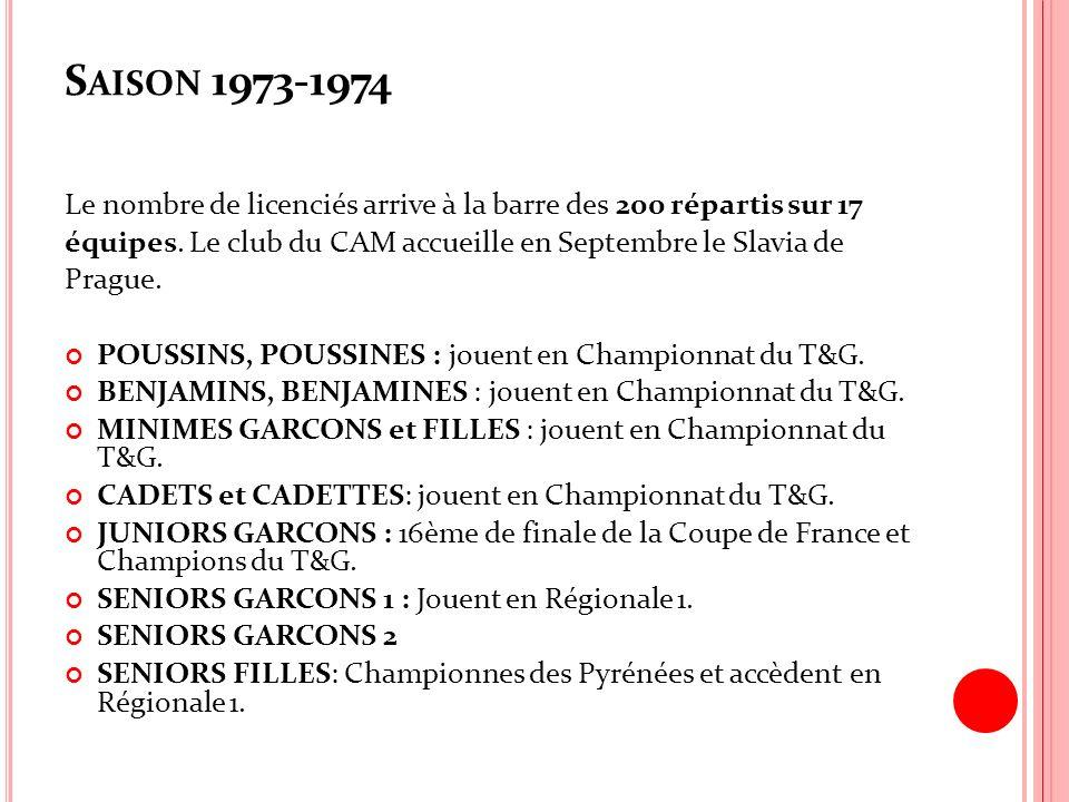 S AISON 1973-1974 Le nombre de licenciés arrive à la barre des 200 répartis sur 17 équipes. Le club du CAM accueille en Septembre le Slavia de Prague.