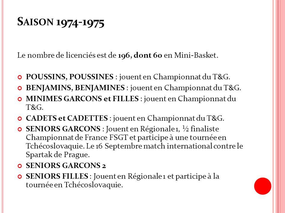S AISON 1974-1975 Le nombre de licenciés est de 196, dont 60 en Mini-Basket. POUSSINS, POUSSINES : jouent en Championnat du T&G. BENJAMINS, BENJAMINES