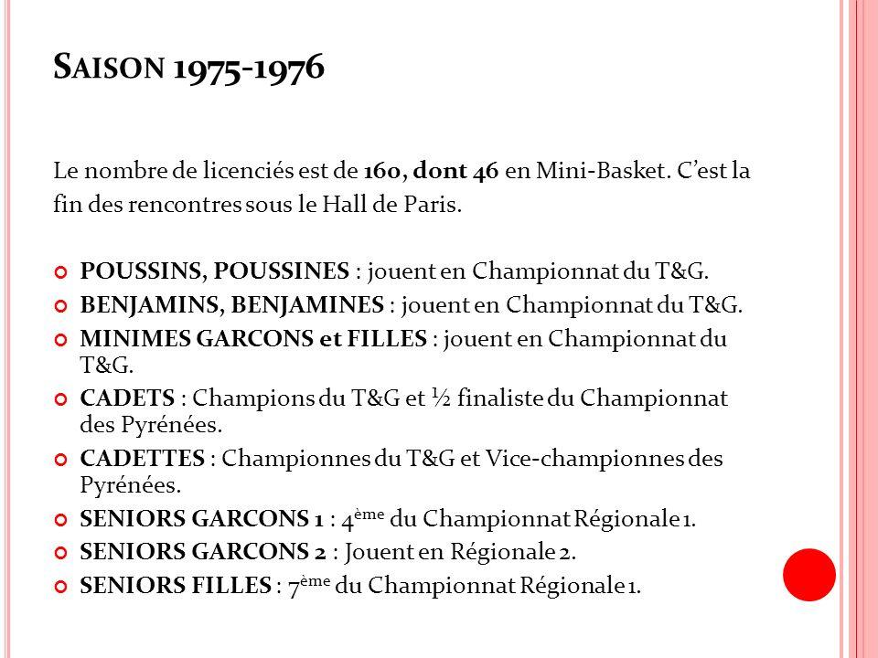 S AISON 1975-1976 Le nombre de licenciés est de 160, dont 46 en Mini-Basket. Cest la fin des rencontres sous le Hall de Paris. POUSSINS, POUSSINES : j