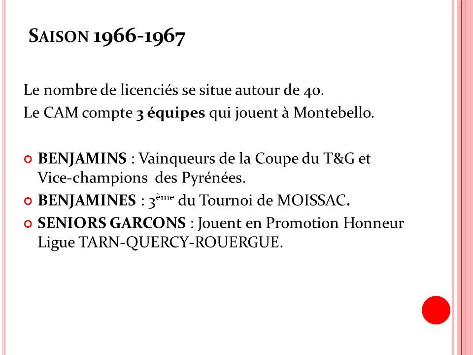 S AISON 1966-1967 Le nombre de licenciés se situe autour de 40. Le CAM compte 3 équipes qui jouent à Montebello. BENJAMINS : Vainqueurs de la Coupe du