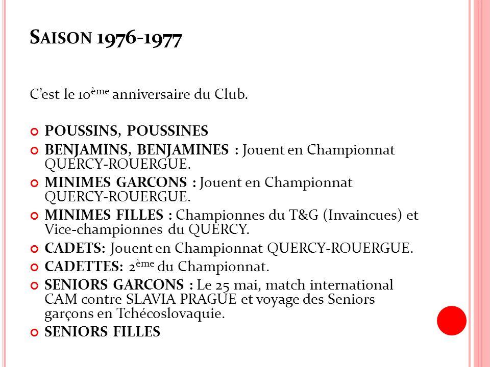 S AISON 1976-1977 Cest le 10 ème anniversaire du Club. POUSSINS, POUSSINES BENJAMINS, BENJAMINES : Jouent en Championnat QUERCY-ROUERGUE. MINIMES GARC
