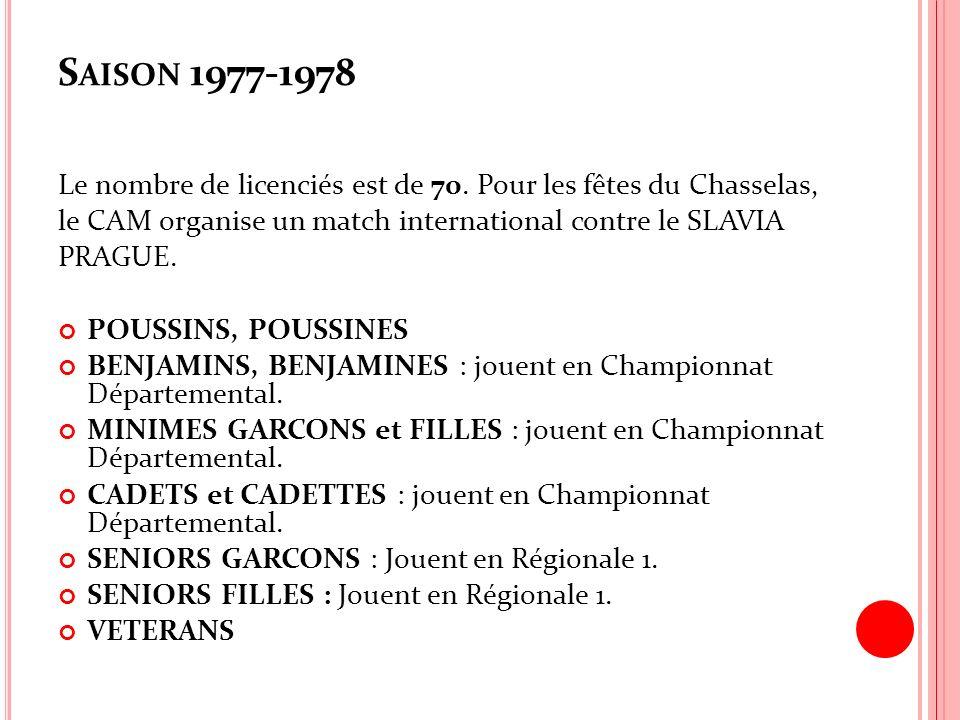 S AISON 1977-1978 Le nombre de licenciés est de 70. Pour les fêtes du Chasselas, le CAM organise un match international contre le SLAVIA PRAGUE. POUSS