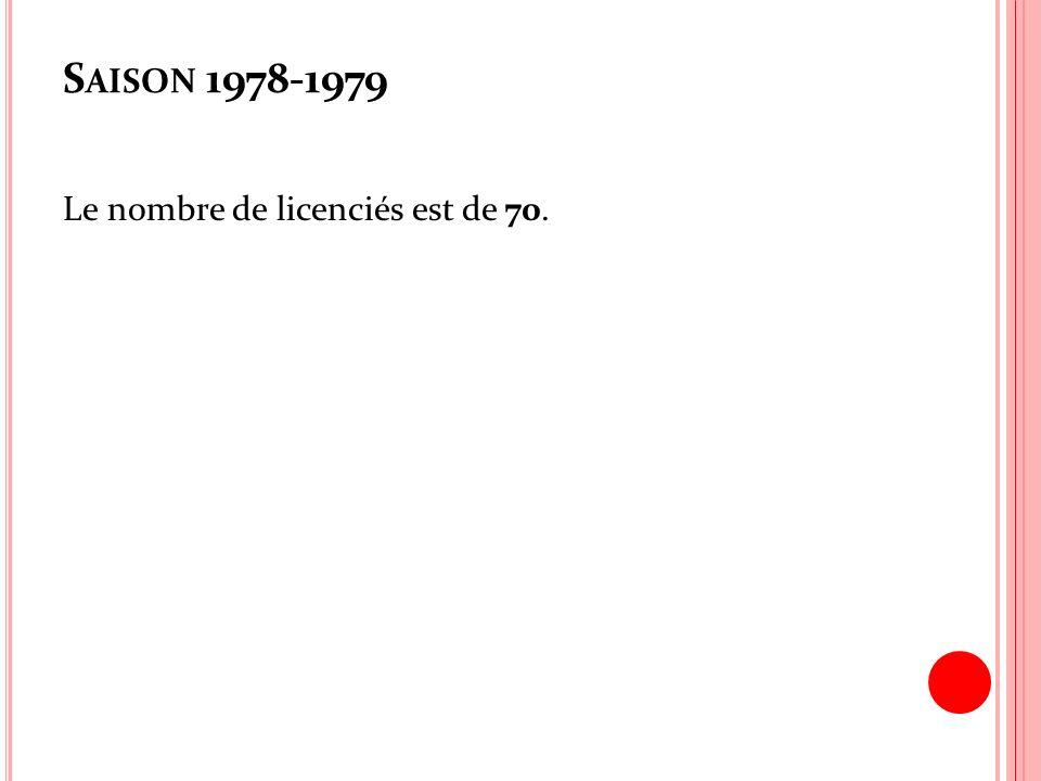 S AISON 1978-1979 Le nombre de licenciés est de 70.