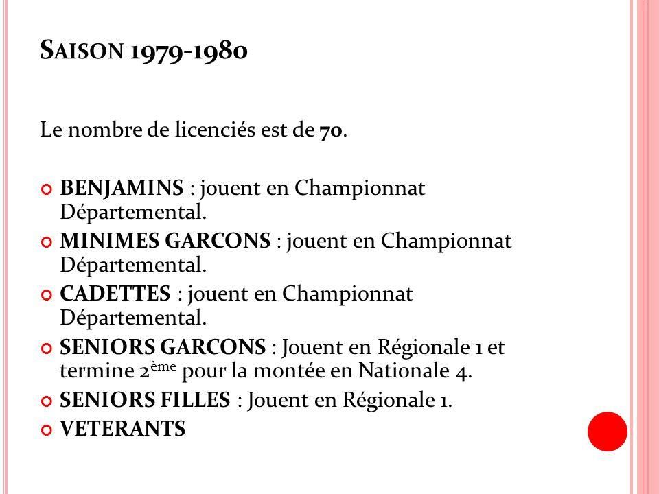 S AISON 1979-1980 Le nombre de licenciés est de 70. BENJAMINS : jouent en Championnat Départemental. MINIMES GARCONS : jouent en Championnat Départeme