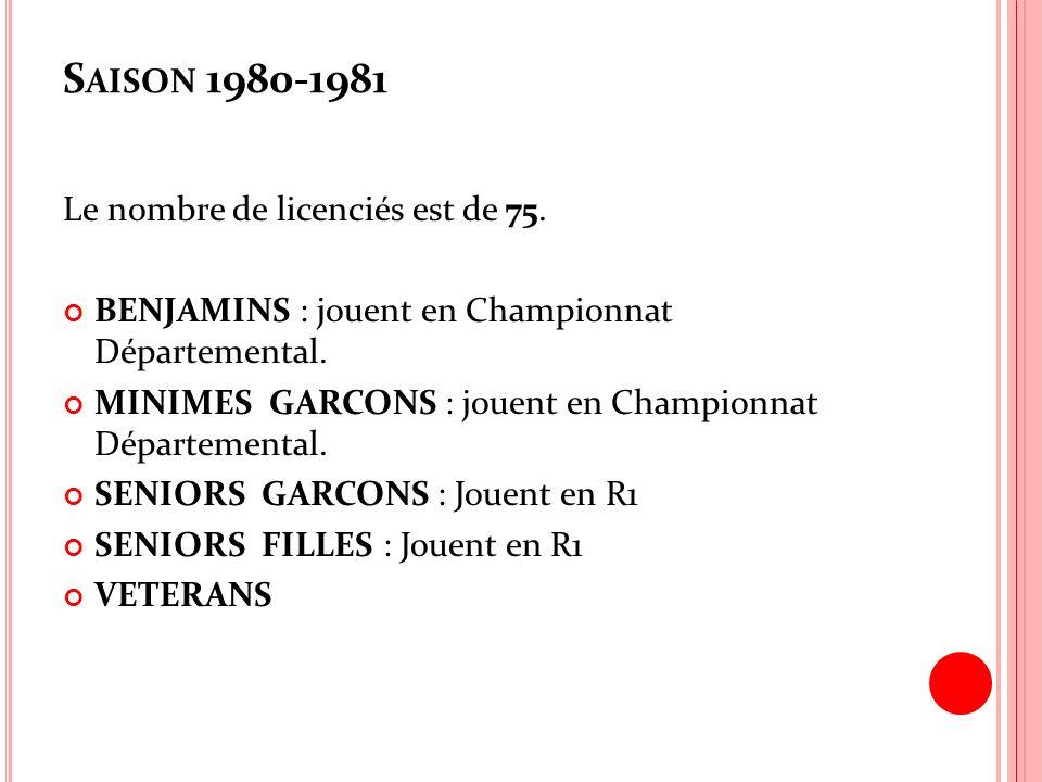 S AISON 1980-1981 Le nombre de licenciés est de 75. BENJAMINS : jouent en Championnat Départemental. MINIMES GARCONS : jouent en Championnat Départeme