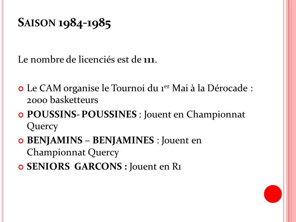 S AISON 1984-1985 Le nombre de licenciés est de 111. Le CAM organise le Tournoi du 1 er Mai à la Dérocade : 2000 basketteurs POUSSINS- POUSSINES : Jou