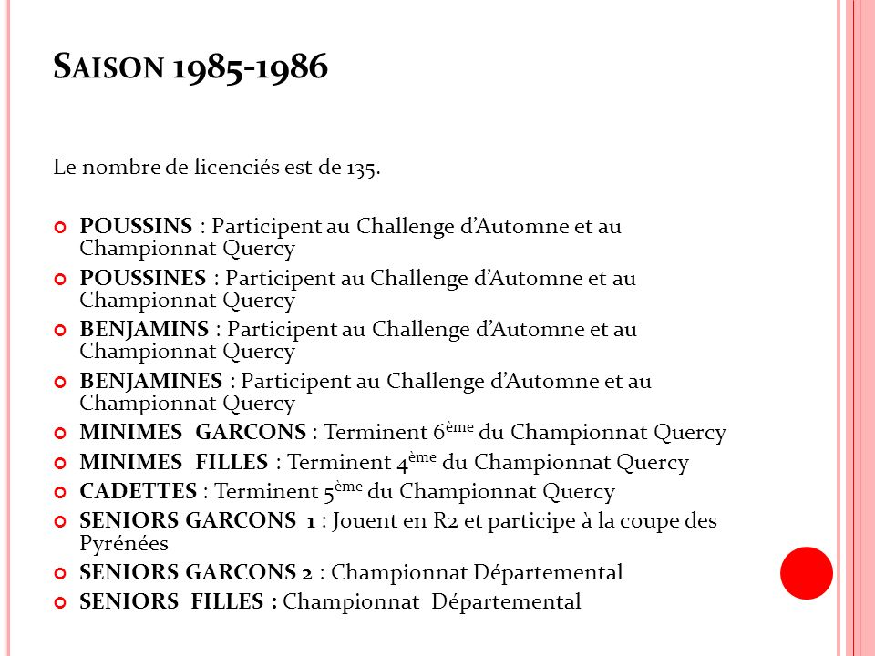S AISON 1985-1986 Le nombre de licenciés est de 135. POUSSINS : Participent au Challenge dAutomne et au Championnat Quercy POUSSINES : Participent au