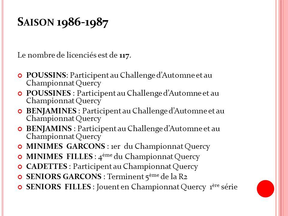 S AISON 1986-1987 Le nombre de licenciés est de 117. POUSSINS: Participent au Challenge dAutomne et au Championnat Quercy POUSSINES : Participent au C