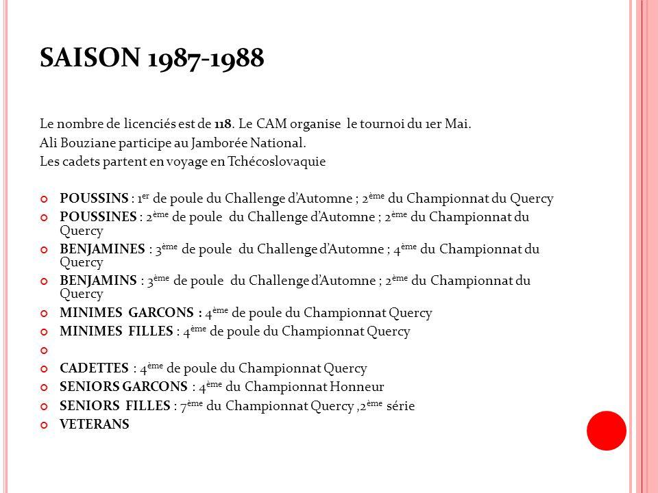 SAISON 1987-1988 Le nombre de licenciés est de 118. Le CAM organise le tournoi du 1er Mai. Ali Bouziane participe au Jamborée National. Les cadets par