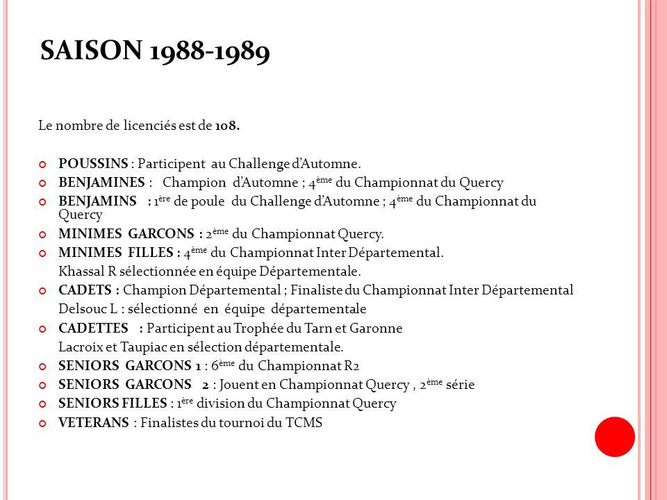 SAISON 1988-1989 Le nombre de licenciés est de 108. POUSSINS : Participent au Challenge dAutomne. BENJAMINES : Champion dAutomne ; 4 ème du Championna