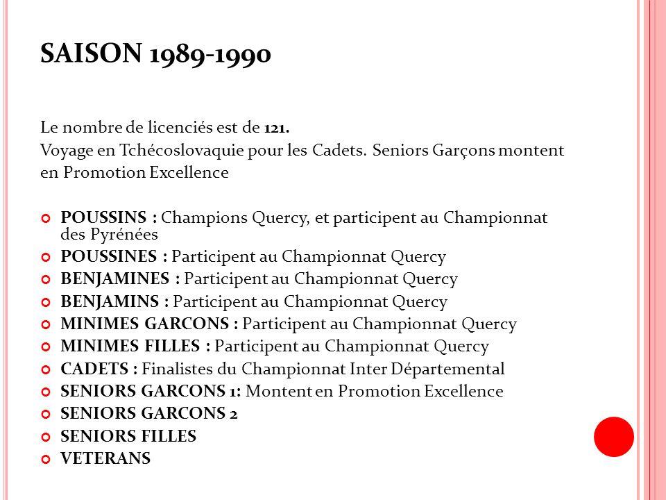 SAISON 1989-1990 Le nombre de licenciés est de 121. Voyage en Tchécoslovaquie pour les Cadets. Seniors Garçons montent en Promotion Excellence POUSSIN