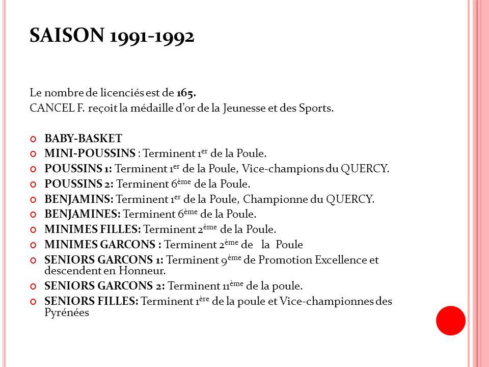 SAISON 1991-1992 Le nombre de licenciés est de 165. CANCEL F. reçoit la médaille dor de la Jeunesse et des Sports. BABY-BASKET MINI-POUSSINS : Termine