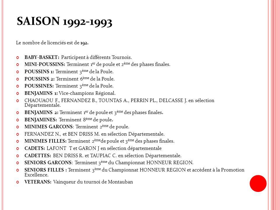 SAISON 1992-1993 Le nombre de licenciés est de 192. BABY-BASKET: Participent à différents Tournois. MINI-POUSSINS: Terminent 1 er de poule et 2 ème de