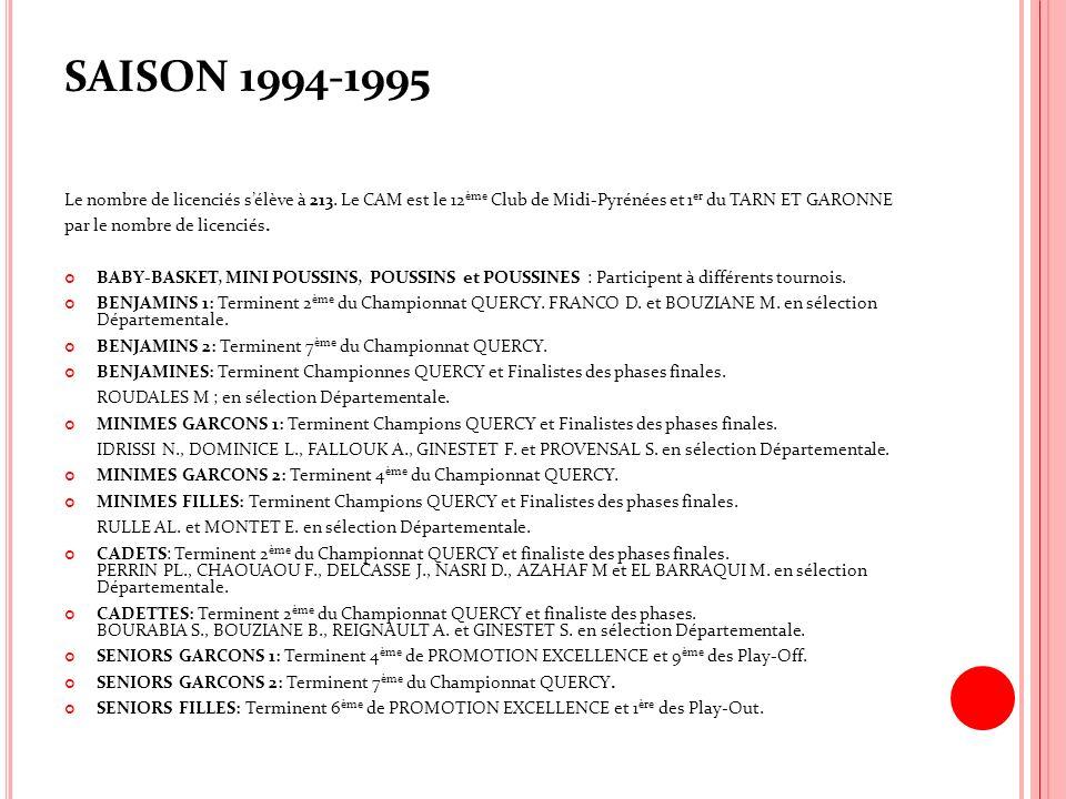 SAISON 1994-1995 Le nombre de licenciés sélève à 213. Le CAM est le 12 ème Club de Midi-Pyrénées et 1 er du TARN ET GARONNE par le nombre de licenciés