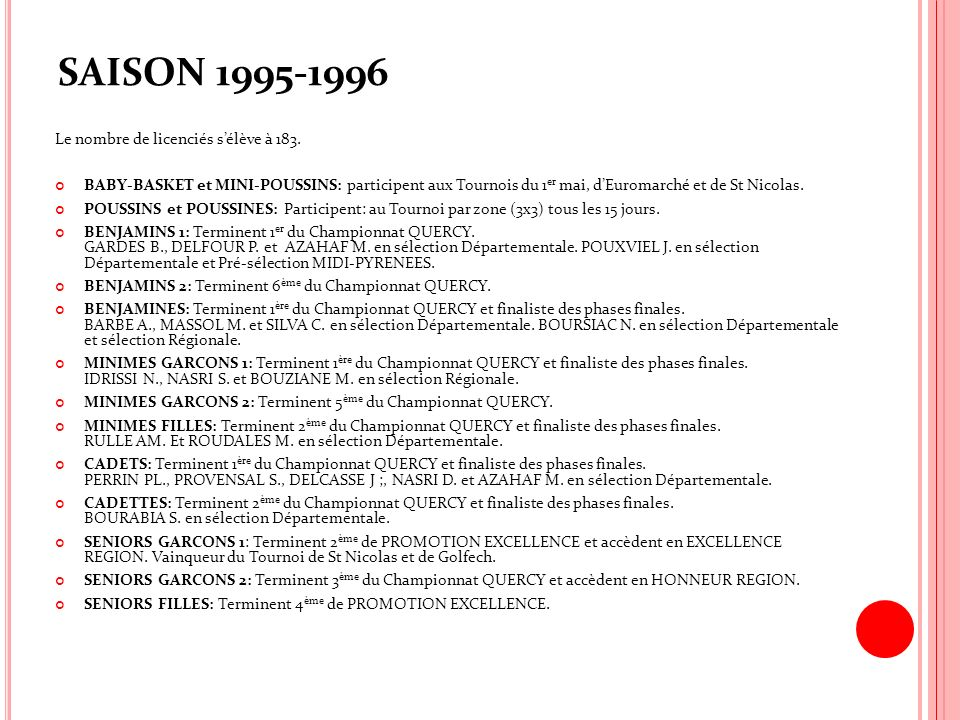 SAISON 1995-1996 Le nombre de licenciés sélève à 183. BABY-BASKET et MINI-POUSSINS: participent aux Tournois du 1 er mai, dEuromarché et de St Nicolas