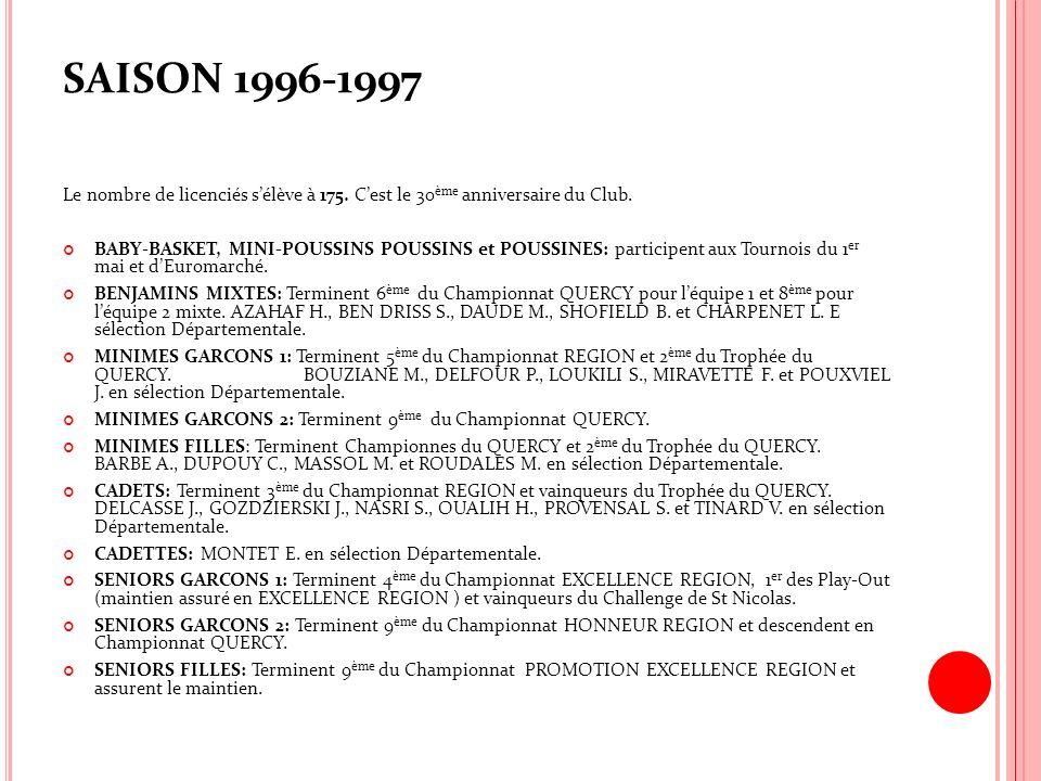 SAISON 1996-1997 Le nombre de licenciés sélève à 175. Cest le 30 ème anniversaire du Club. BABY-BASKET, MINI-POUSSINS POUSSINS et POUSSINES: participe