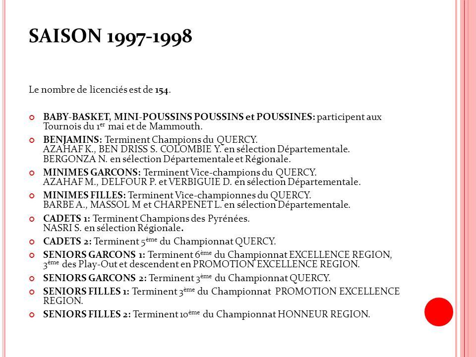 SAISON 1997-1998 Le nombre de licenciés est de 154. BABY-BASKET, MINI-POUSSINS POUSSINS et POUSSINES: participent aux Tournois du 1 er mai et de Mammo